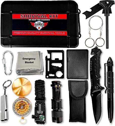 Just Guarded Emergency Survival Kit - 15 in 1 Premium Tactical Gear for Outdoor Adventures - Quality Lifesaving Tools (Rod Premier Travel)