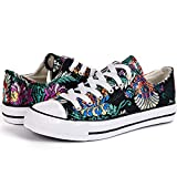 LANTINA Women's Low Top Fashion Sneakers Canvas Shoes Lightweight and Breathable for Tennis Running Walking Athletic Ladies Summer Casual Dress on Clearance Sale, Embroidered Flowers Black Size 6