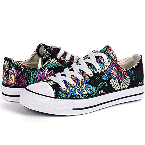 LANTINA Women's Low Top Fashion Sneakers Canvas Shoes Comfy Lightweight and Breathable for Tennis Running Walking Athletic Baseball Ladies Casual Everyday Dresses, Embroidered Flowers Black Size 10