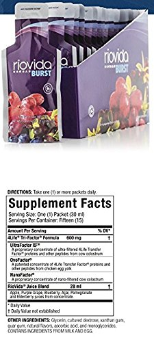 4Life Transfer Factor RioVida Burst Antioxidant Ratings Immune System 15 pouches each ( pack of 2)