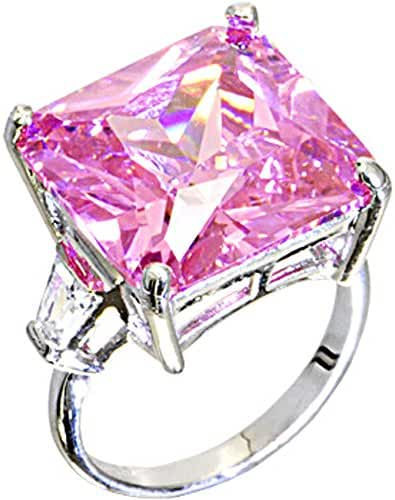 Pink Square Cocktail Ring Size 7