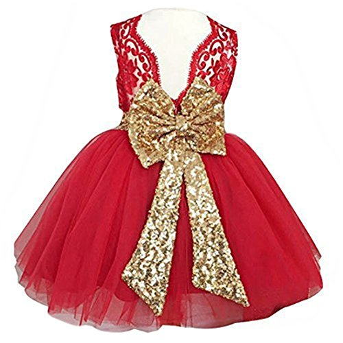 0-12 Years Little Big Flower Girl Dresses for Wedding (130, Red) (Red Dresses For Little Girls)