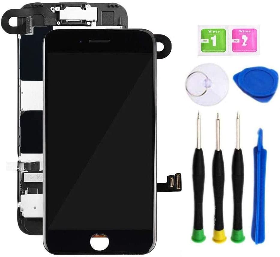Premium Screen Replacement Compatible with iPhone 8 4.7 inch Full Assembly - LCD 3D Touch Display digitizer with Front Camera, Ear Speaker and Sensors, Compatible with All iPhone 8(Black)