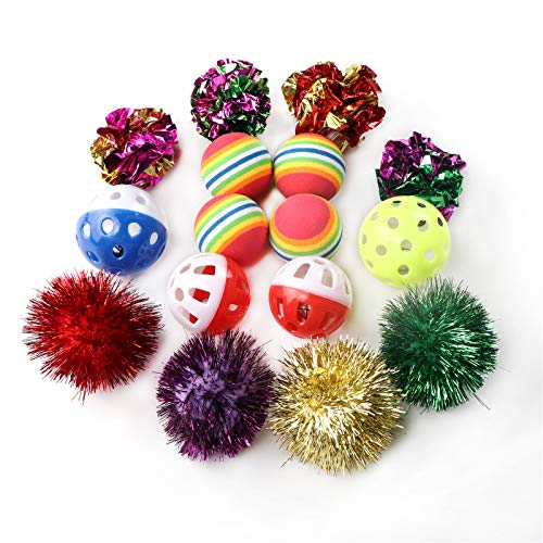 M JJYPET Cat Toys Kitten Toys Assortments,Play Balls with Jingle Bell,Foam Balls,Sparkle Balls,Crinkle Balls for Cat,Puppy,Kitty,Kitten