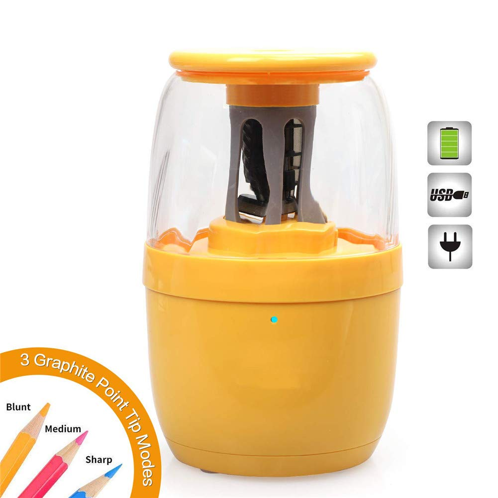 YOUEC Electric Pencil Sharpener, Pineapple Style Auto Stop Feature and Heavy-Duty Helical Blade Sharpener, with USB Charging Cable Operated