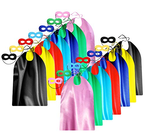Adult Superhero Capes and Masks Bulk Pack for Men & Women - Dress Up Superhero Party Costumes for Team Building - 14 Sets -