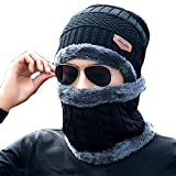 1Set(2PCS) Unisex Winter Warm Scarf and Hat Kit - Soft Thicken Knitted Neckerchief Scarves Cap Keep Your Neck Face Ear Warm Suitable for Cycling Hiking Ski and Other Outdoor Sports(Black)
