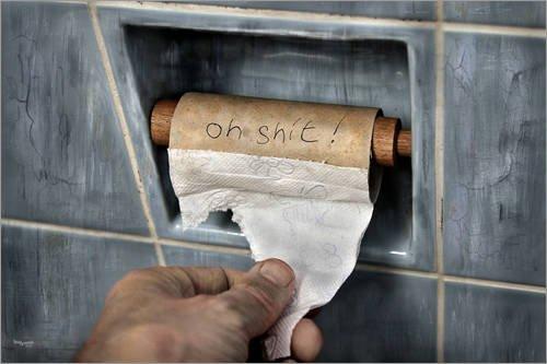 Leinwandbild 60 x 40 cm  Auf der Toilette, WC Papier, lustiges von teddynash - fertiges Wandbild, Bild auf Keilrahmen, Fertigbild auf echter Leinwand, Leinwanddruck