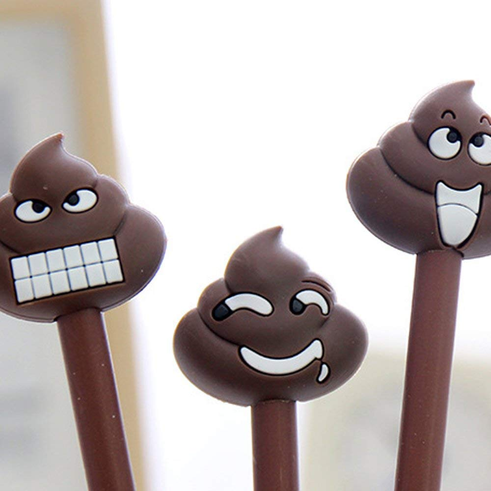 Pack of 8 Kawaii Cartoon Shit Poop Emoji Design Gel Ink Rollerball Pens Encourage Gifts for the Students,Black 0.38mm Funny School Stationery Office Supplies(8PCS)