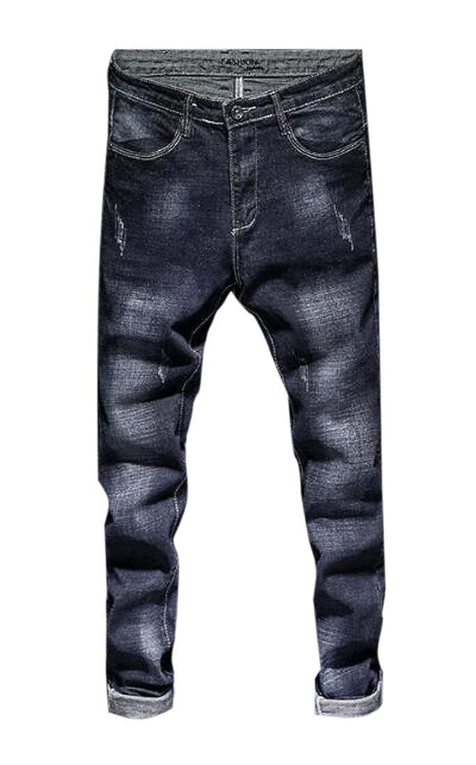 BU2H Men Stretchy Slimming Casual Fleece Warm Denim Pants