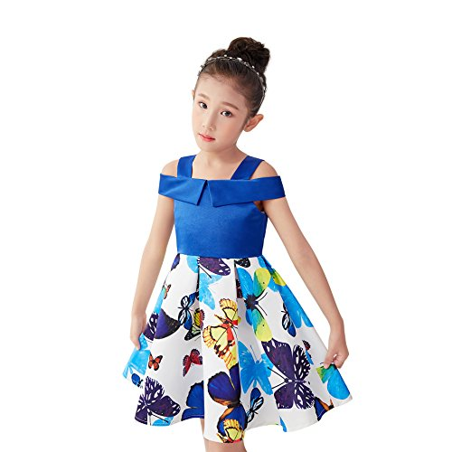 Girls Party Dress Girls Clothes Clothing Summer Size 8 Age 8-9 Girls Outfits Kids Party Dress Cotton Dresses for Girls (Butterfly, 8)