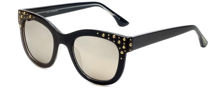 05be876b823 Amazon.com  Isaac Mizrahi Designer Sunglasses IM71-10 in Black with Silver  Mirror Lenses  Clothing