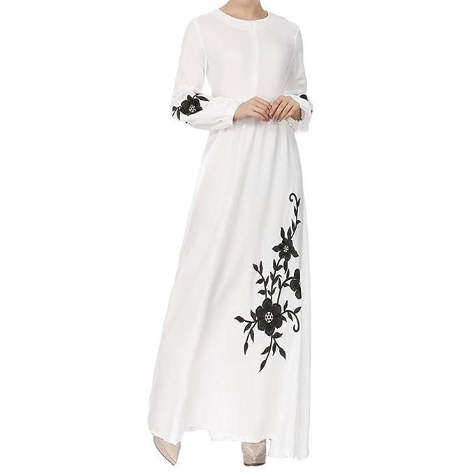 Vestido de Otoño de Mujer, Dragon868 2018 musulmán de Gasa de Manga Larga Vintage Vestidos