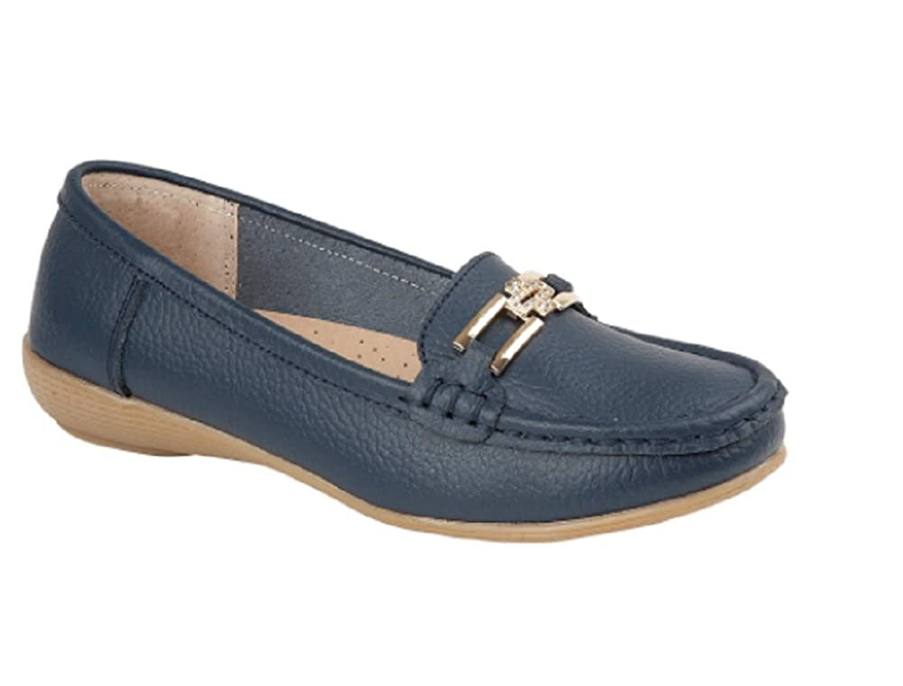 Jo /& Joe Womens Ladies Leather Loafers Size 3 4 5 6 7 8 Diamante Cross and Chain Trim