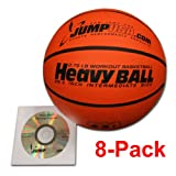 8-Pack Heavy Ball 3lb Weighted Trainer Basketball Hi-Carbon Rubber with Skills Video