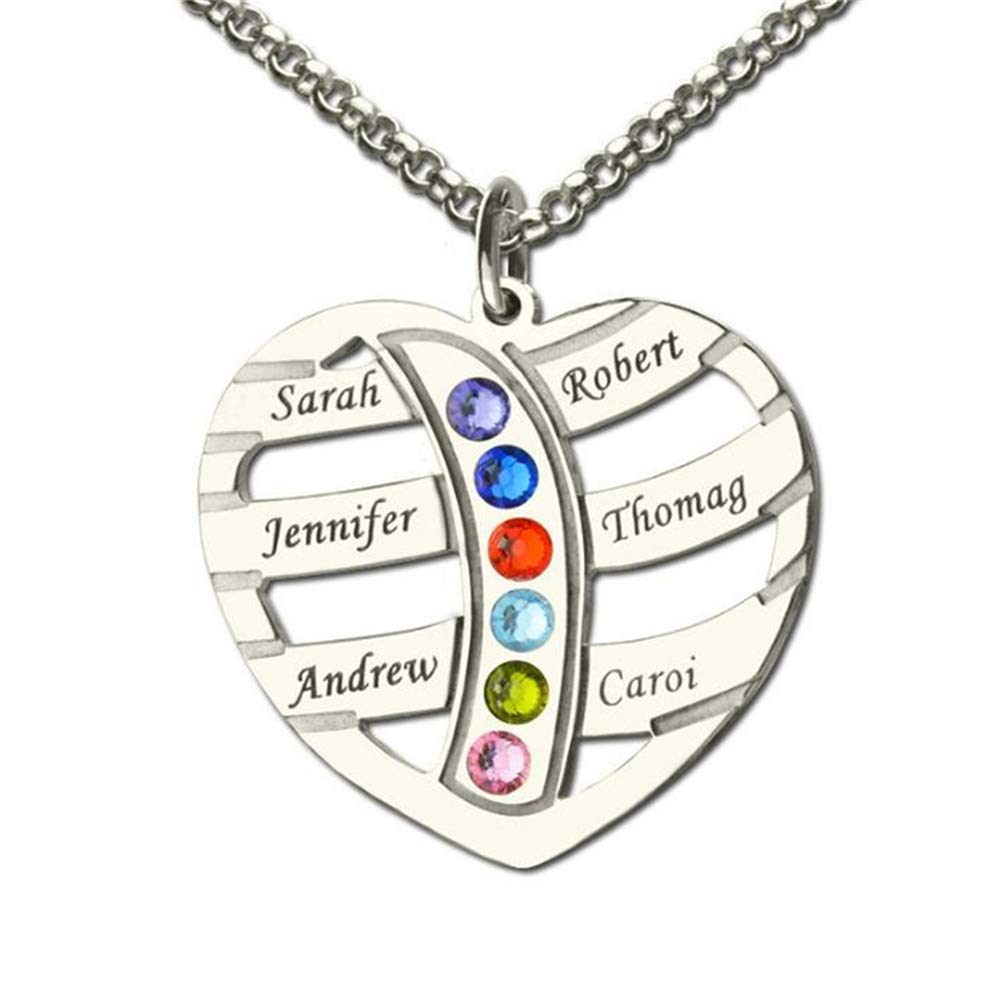 6 Birthstones Necklace for Women SADNESS N Heart Pendant Necklace Personalized 6 Name