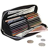 COVOVA Women RFID Blocking Wallet Black Genuine Leather Accordion Zip Men Card Holder (Black)