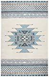 Rizzy Home Southwest Collection SU567A Handtufted 100% Wool Area Rug 3' x 5' Blue-ivory