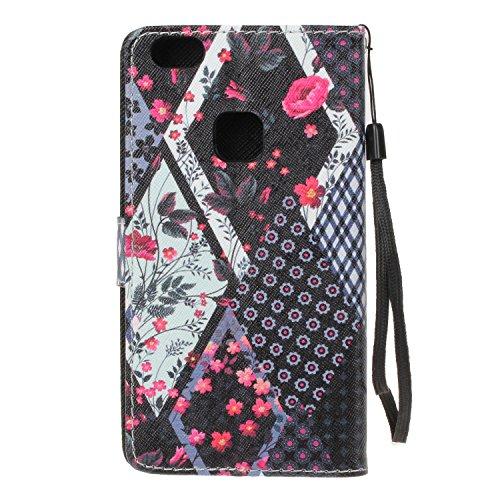 Para Huawei P10 Lite funda, (Palma de la mano del mal) caja del teléfono de la PU patrón en relieve ,Función de Soporte Billetera con Tapa para Tarjetas correa de mano soporte para teléfono Flores de tela escocesa