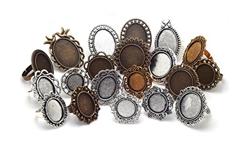 Oval Ring Blank - Mixed Adjustable Ring Blanks, Cabochon Rings Settings, Variety Sizes & Colors (20 Pieces)
