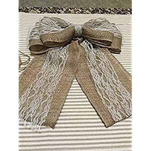 """Christmas Tree Topper 12"""" Wide Bow Burlap and Lace Ribbon Wreath Bow 43"""