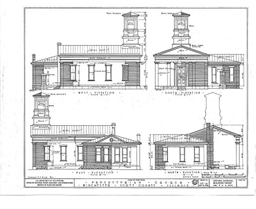 Historic Pictoric Blueprint Diagram HABS Ill,86-Winch,1- (Sheet 2 of 6) - Presbyterian Church, West Cherry & North Mechanic Streets, Winchester, Scott County, IL 14in x 11in