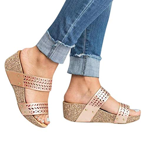 (BEAUTYVAN Mules Shoes for Women Fashion Platforms Wedges Peep Toe Slipper Sandals Gold)