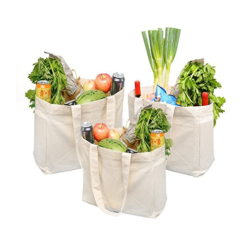 ATBAY 100% Cotton Canvas Washable Grocery Tote Bag with 11.8