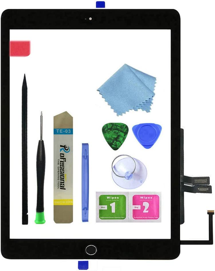 Zentop for Black iPad 6th Generation iPad 2018 A1893 A1954 Touch Screen Digitizer Assembly Replacement with Home Button, Camera Bracket, Pre-Installed Adhesive, Tool Repair Kit