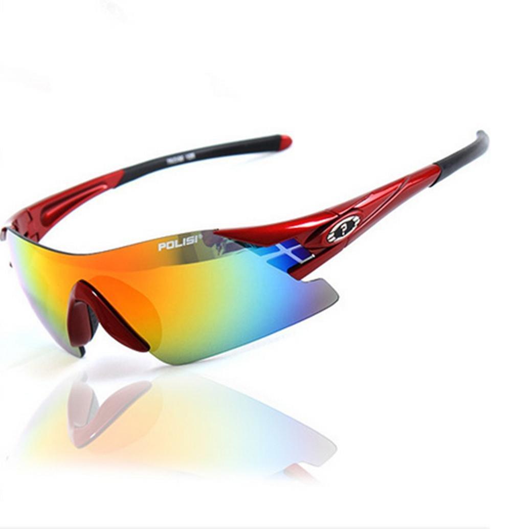 DZW Mode rahmenlose Brille Sportspiegel Reiten kann Kugeln Brille polarisierte Sonnenbrille Sonnenbrille Angeln ändern , ROT