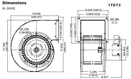 Dayton 1TDT2 Blower, 549 CFM, 115V, 2.05 Amp, 1640 rpm by Dayton