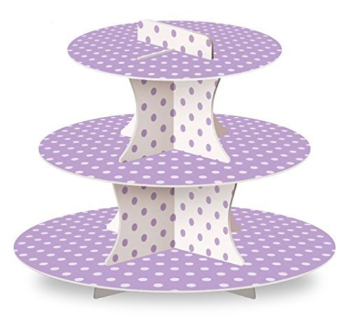 LolliZ Cupcake Stand, Lavender/Polka Dots, Paper. 1 Pc