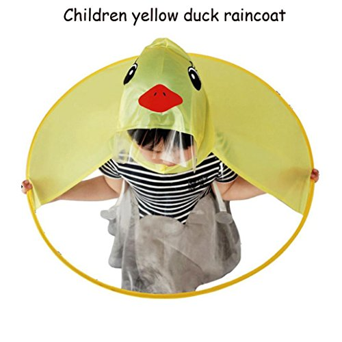XILALU Kids UFO Raincoat, Windproof & Waterproof Foldable Cute Transparent Cartoon Duck Hands Free Umbrella Hat Funny Rain Coat-Scratch Resist (Yellow, Child S) by XILALU (Image #1)