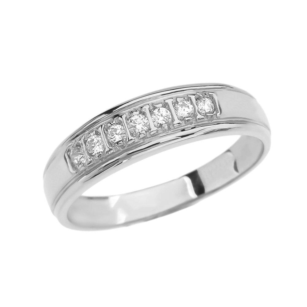 10k White Gold Diamond Wedding Band For Him (Size 13)