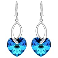 925 Sterling Silver CZ Love Heart French Hook Dangle Earrings Made with Swarovski Crystals