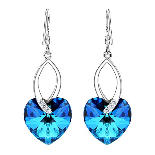 Bermuda Blue Crystal - EleQueen 925 Sterling Silver CZ Love Heart French Hook Dangle Earrings Bermuda Blue Made with Swarovski Crystals