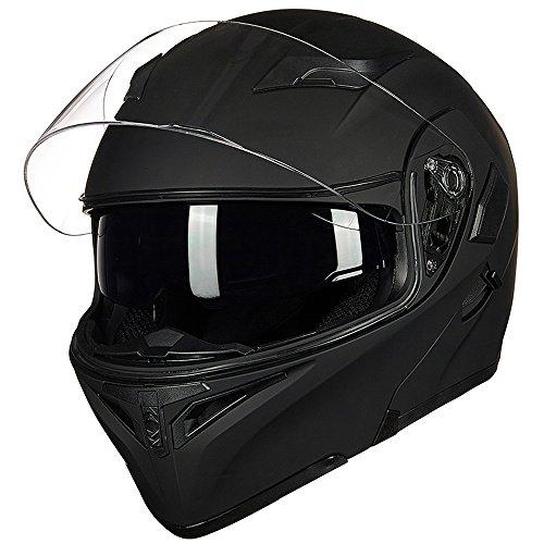 ILM Motorcycle Dual Visor Flip up Modular Full Face Helmet DOT with 6 Colors (S, MATTE BLACK)