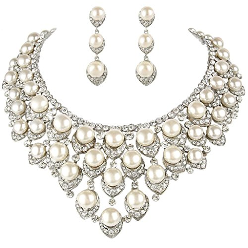 (EVER FAITH Silver-Tone Austrian Crystal Ivory Color Simulated Pearl V-Shaped Cluster Jewelry Set Clear)
