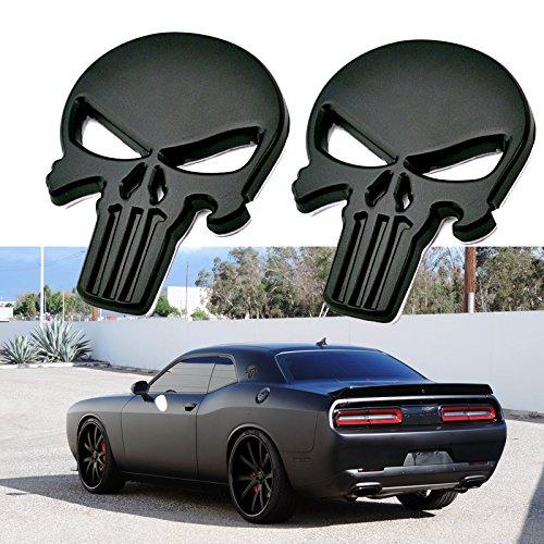 2x 3D Black The Punisher Rock Skull Emblem Skeleton Car Badge Sticker -