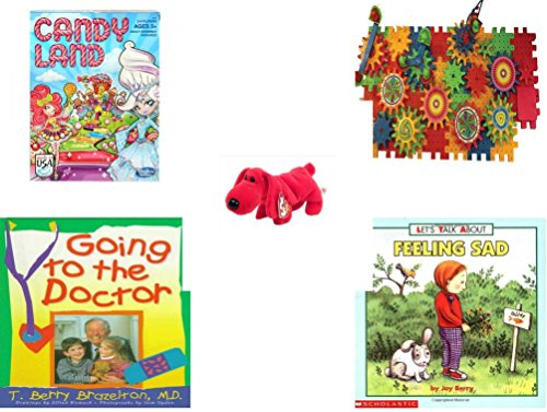 Children's Gift Bundle - Ages 3-5 [5 Piece] - Candy Land Game - Play Sprockets Toy - Beanie Baby - Rover The Red Dog - Going to The Doctor Hardcover Book - Let's Talk About Feeling Sad Let's Talk Ab