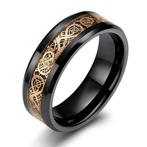 ng with Rose Gold Celtic Dragon Pattern Inlay Wedding Band for Men His Comfort Fit (10.5) (Black Ceramic Comfort Fit Ring)