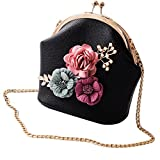 Bolayu Sexy Women Fashion Girl Handbag Shoulder Stereo Flowers Bag Small Tote Ladies Purse (Black)