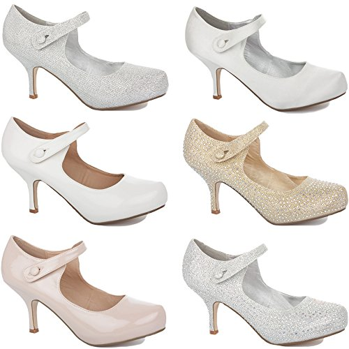 3 COURT HIGH STRAP Patent LADIES MID STILETTO LOW NEW PARTY MID BRIDAL PROM SHOES SIZE BRIDESMAID PUMPS WOMENS WEDDING HEELS Nude 8 ANKLE KITTEN Rggqxvwfa