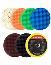 "CASOMAN 7-Inch Buffing and Polishing Pad Kit, 7 Pieces 7"" Polishing Sponge, Waxing Buffing Pad Kit"