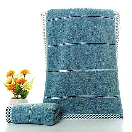 LybMaoJ Toalla Toalla de Cara Doble Cara Absorbente de algodón, Azul, 34 * 75