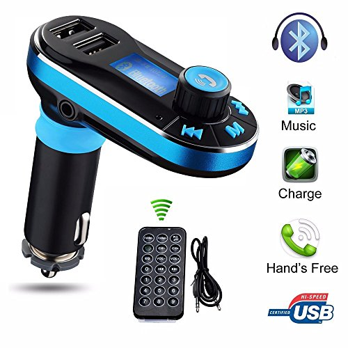 Mp3 Remote Transmitter - Lonchan Wireless Bluetooth FM Transmitter Mp3 Music Player Hands-free Car Kit Dual USB Charger Support SD Card with 3.5mm Audio for iPhone, iPad, Samsung Galaxy, Note, HTC,LG,other Smart phones,Blue