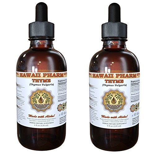 Thyme Liquid Extract, Organic Thyme (Thymus Vulgaris) Tincture, Herbal Supplement, Hawaii Pharm, Made in USA, 2x4 fl.oz by HawaiiPharm