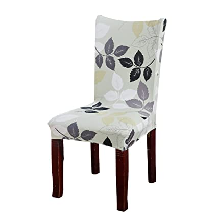 HOTNIU Spandex Fabric Patterned Chair Slipcovers - Removable Universal  Stretch Elastic Chair Protector Covers - Solid Color Super Fit Kitchen  Chair ...