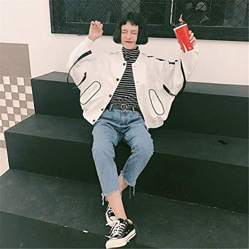 Relaxed Giacche Casual Cappotto Eleganti Stampate Bomber Outerwear Lacci Maniche Lunghe Donna Cute Pilot Autunno Fashion Bianca College Con Giacca Chic qxPCf