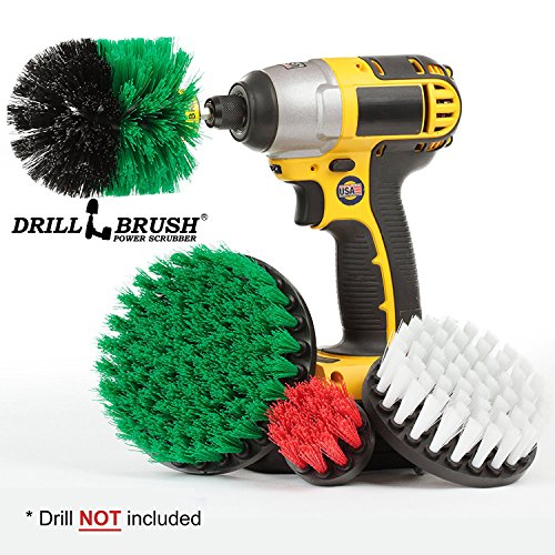 Price comparison product image Drillbrush Cleaning Brush Drill Attachment Kit - Drill Powered Scrubber Brush Attachments - Time Saving Cleaning Kit - Great for Cleaning Furniture,  Kitchen,  Flooring,  Brick,  Grout,  and Much More